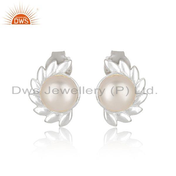 Beautiful Fine Sterling Silver Natural Pearl Gemstone Stud Earrings