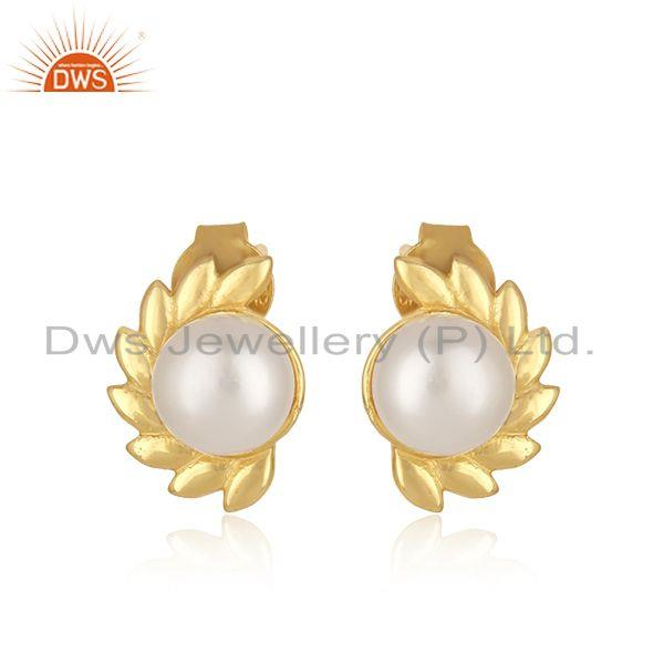 Beautiful Sterling Silver Gold Plated Pearl Gemstone Stud Earrings
