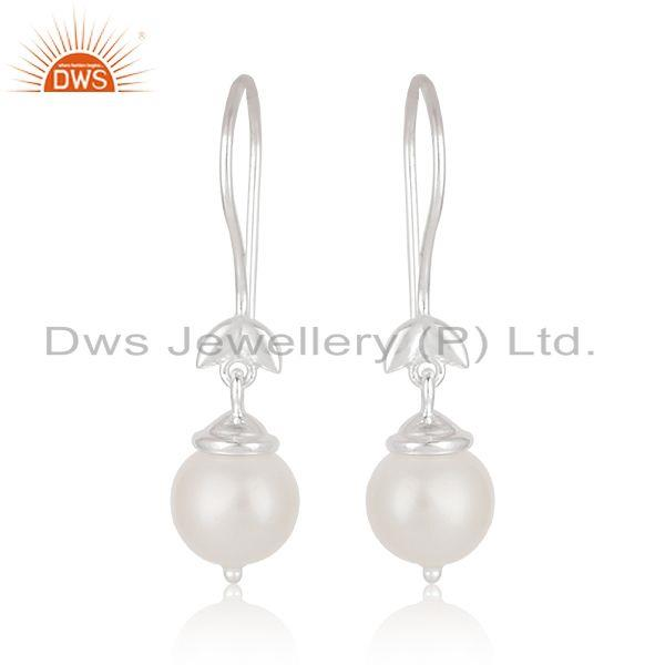 South Sea Pearl Gemstone Fine 925 Sterling Silver Designer Earrings