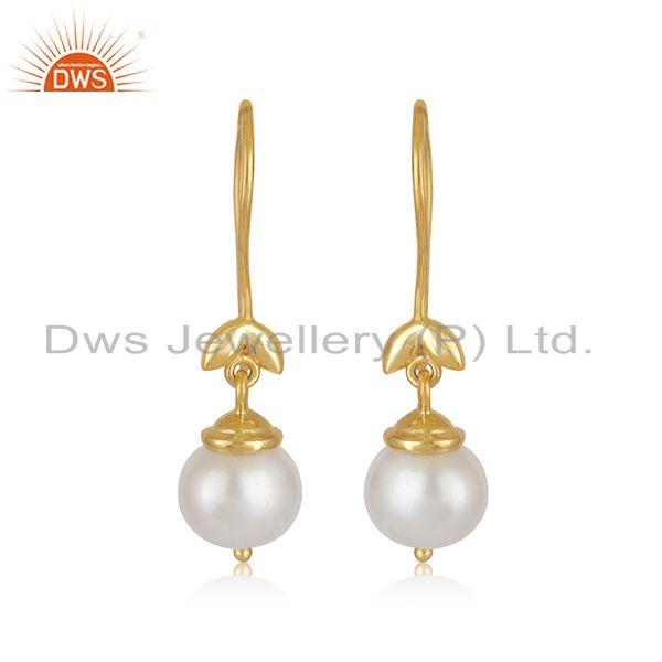 South Sea Pearl Gemstone Gold Plated Sterling Silver Designer Earrings