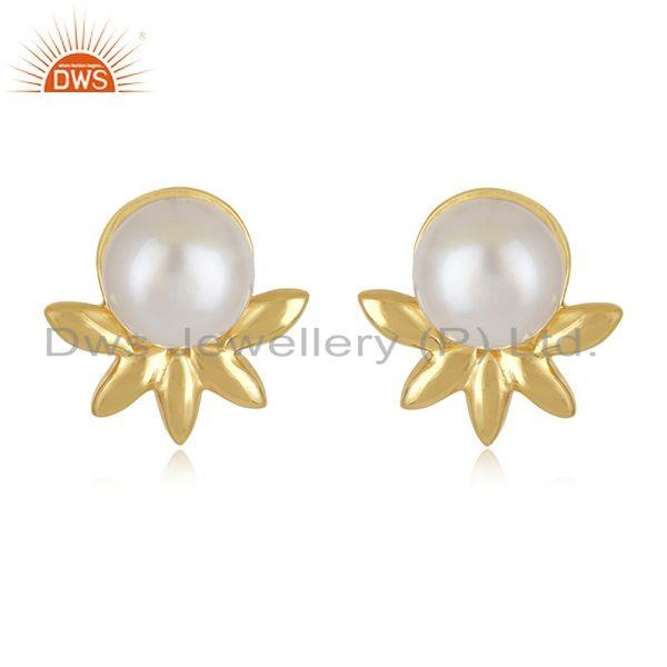 Designer 925 Silver Gold Plated South Sea Pearl Gemstone Stud Earrings