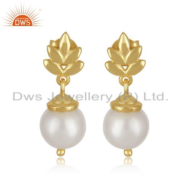 Customized Sterling Silver Gold Plated South Sea Pearl Girls Earrings