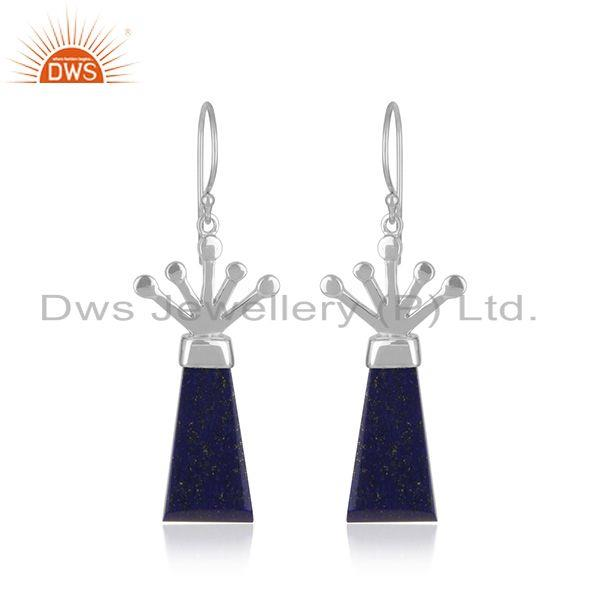 Stylish Sterling Fine Silver Natural Lapis Lazuli Gemstone Earrings