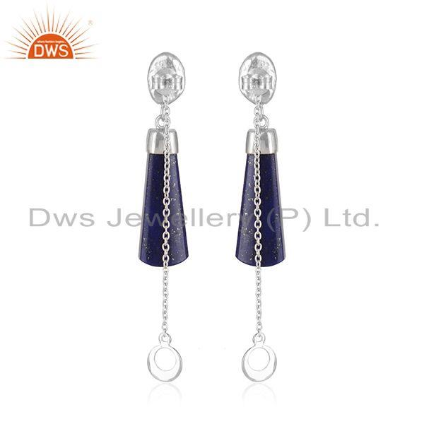 Handmade 925 Sterling Designer Silver Lapis lazuli Gemstone Earrings