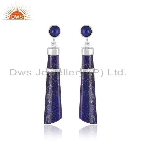 White Rhodium Plated 925 Silver Lapis Lazuli Gemstone Earring Supplier