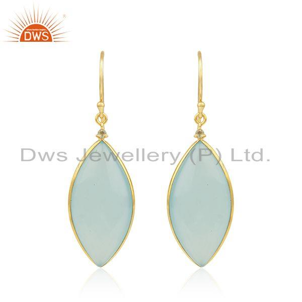 Aqua Chalcedony Gemstone Gold Plated 925 Sterling Silver Earrings