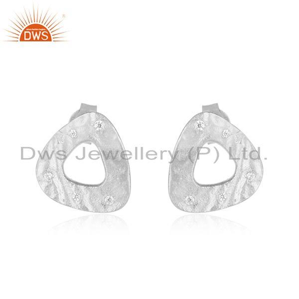 White Zircon Stone Handmade Fine Sterling Silver Stud Earring Supplier