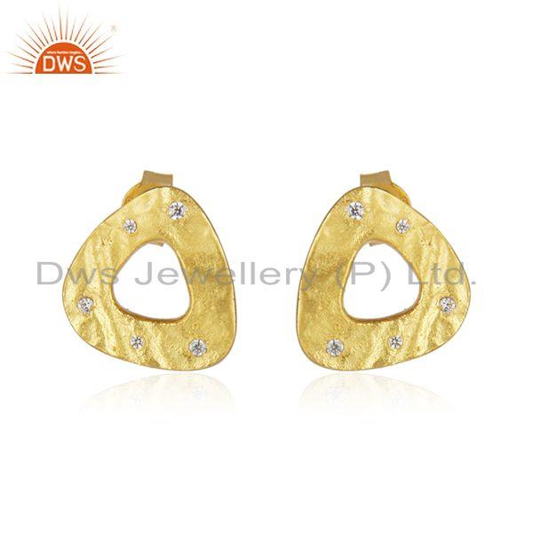 Yellow Gold Plated 925 Sterling Silver White Zircon Stud Earrings