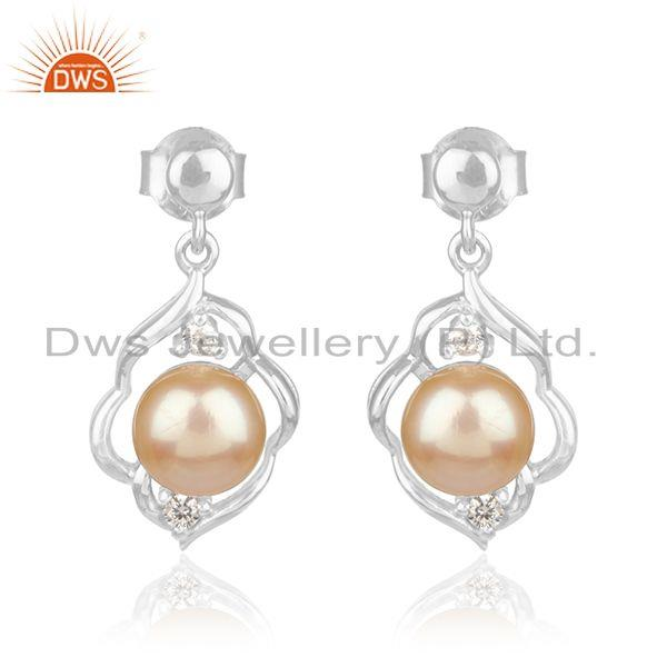 White Rhodium Plated 925 Silver Natural Pearl Gemstone Girls Earrings