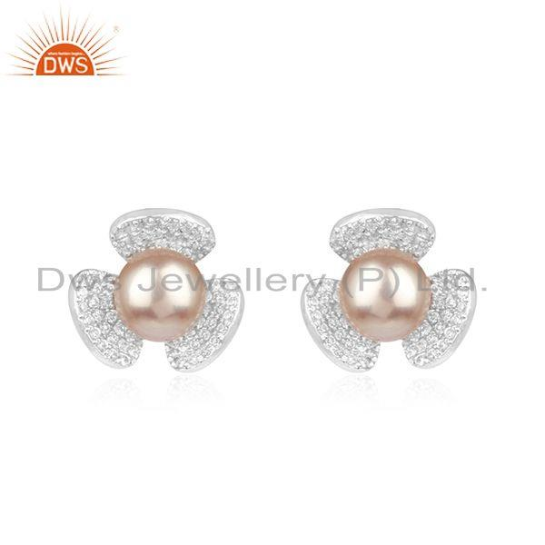 Floral Design 925 Fine Silver White Zircon and Gray Pearl Stud Earring