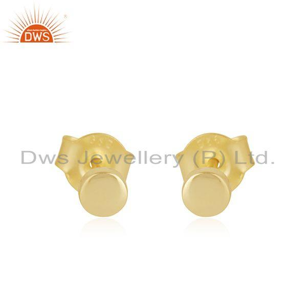 Handmade Plain 925 Sterling Silver Yellow Gold Plated Stud Earrings