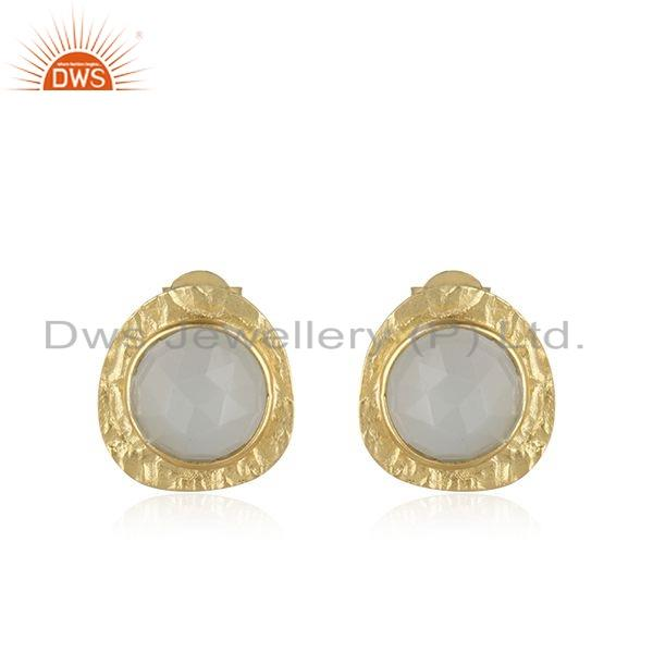 Texture Gold Plated 925 Silver Gray Moonstone Gemstone Stud Earrings