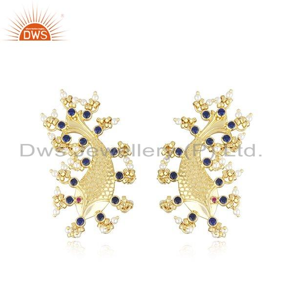 Gold Plated Silver Zircon Natural Pearl Statement Fish Stud Earrings