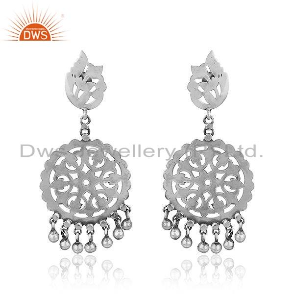 Round Disc Design Oxidized Antique Sterling Silver Earrings Jewelry