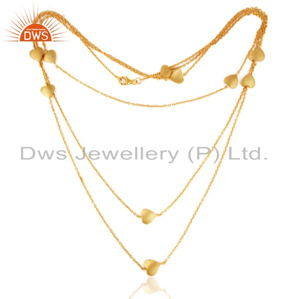 18K Gold Over Sterling Silver Multi-layered Chain Necklace With Heart Charms