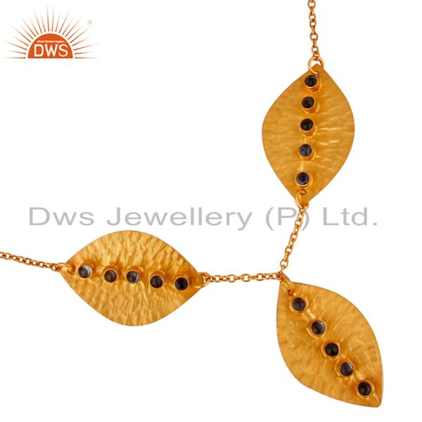 Blue Sapphire Bithstone Gold Plated 925 Silver Leaf Necklace Wholesale