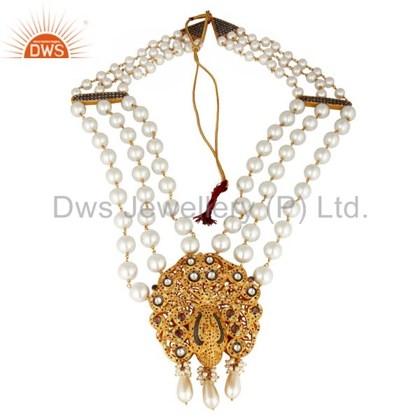 South Indian Traditional Pearl 22K Gold Plated Silver Peacock Design Necklace
