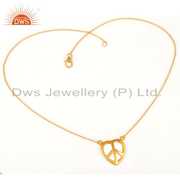 18K Gold Plated Sterling Silver Peace Sign Charms Chain Necklace