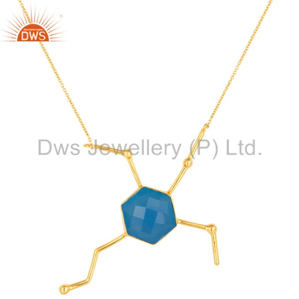 Faceted Dyed Blue Chalcedony Gemstone Sterling Silver Necklace - Gold Plated