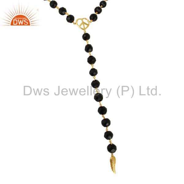 18K Gold Plated Sterling Silver Black Onyx Angel Wing Charm Necklace