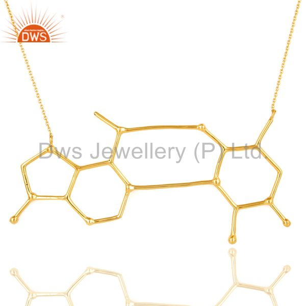 Shiny 18K Yellow Gold-Plated Sterling Silver Designer Womens Necklace