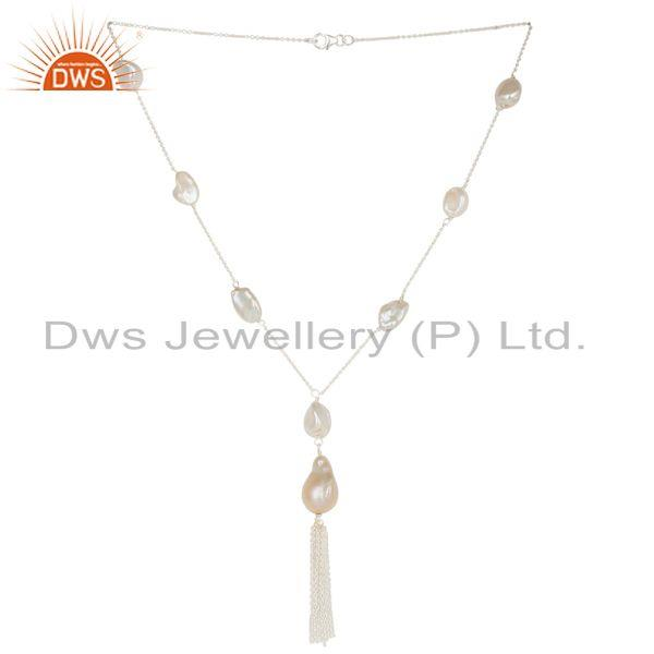 Sterling Silver FreshWater Pearl Gemstone 16 inch Necklace