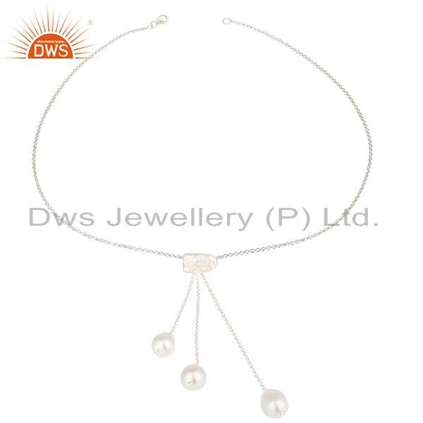 Handmade Beautiful Pearl Chain Link Drops Necklace Made In 925 Sterling Silver