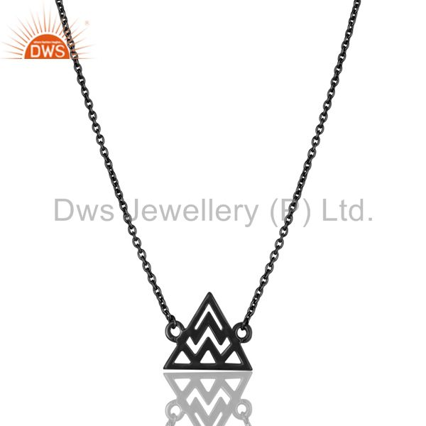 Black Oxidized 925 Sterling Silver Handmade Art Trillion Style Chain Necklace