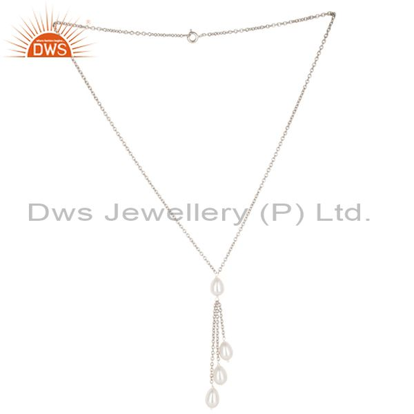 Handmade 925 Sterilng Silver Plain Beads Pearl Drops Chain Necklace Jewelry
