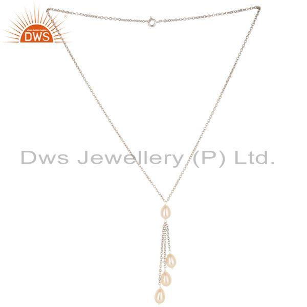 Handmade 925 Sterilng Silver Plain Beads Pink Pearl Drops Chain Necklace Jewelry