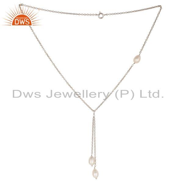 Handmade 925 Sterling Silver Pearl Beads 16 Inch Drops Chain Necklace