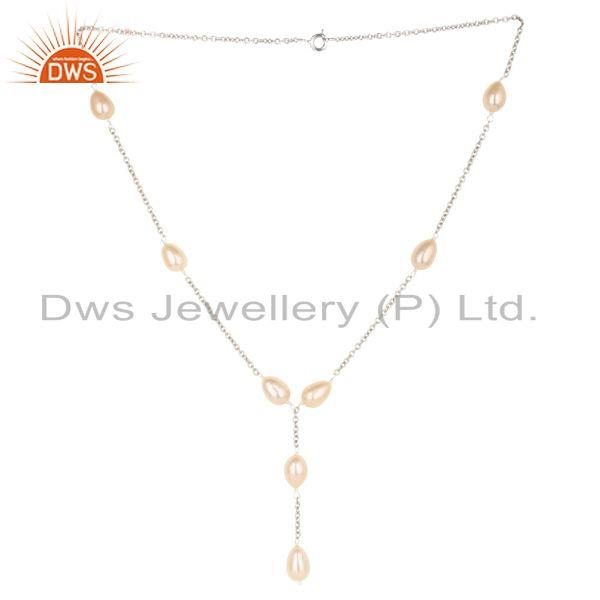 Beautiful Handmade Sterling Silver Pink Pearl Beads 16 Inch Drops Chain Necklace