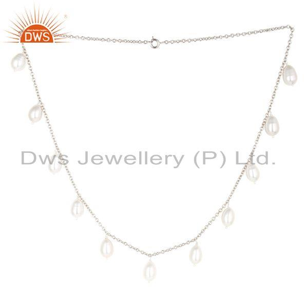 Handmade Pearl Beads 16 Inch Chain Necklace Jewelry Made In 925 Sterling Silver