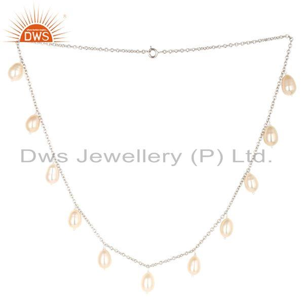 Handmade Pink Pearl 16 Inch Chain Necklace Jewelry Made In 925 Sterling Silver