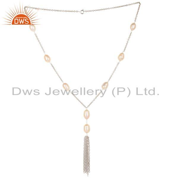 Handmade Sterling Silver Pink Pearl Beads 16 Inch Drops Chain Necklace Jewelry