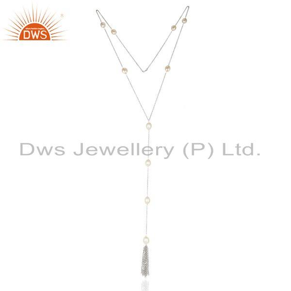 Pearl Long Chain White Rhodium Plated 92.5 Sterling Silver Long Chain