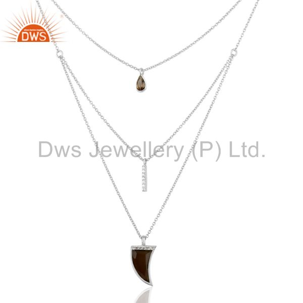 Smoky Topaz Triple Layer Unisex Cz 92.5 Sterling Silver Wholesale Pendent