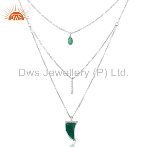 Green Onyx Triple Layer Unisex Cz 92.5 Sterling Silver Wholesale Pendent