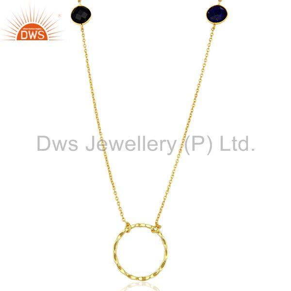Onyx Gemstone Gold Plated 925 Silver Indian Chain Necklace Wholesale