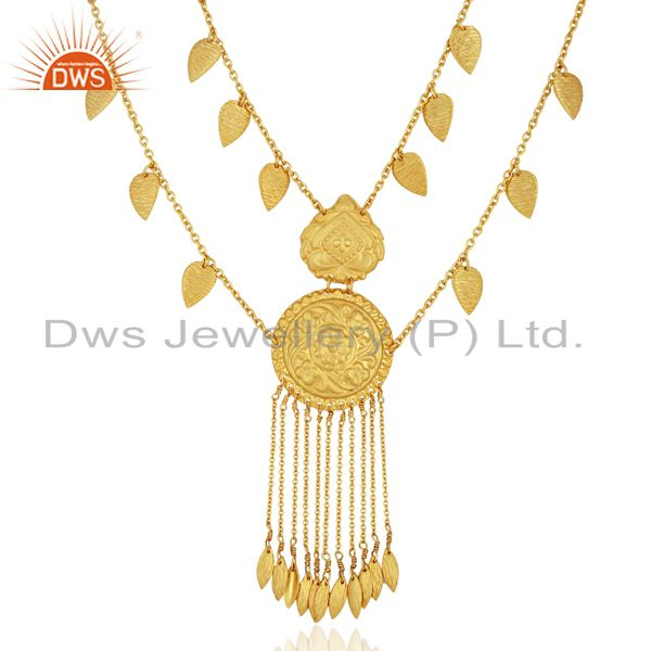 925 Sterling Silver Gold Plated Traditional Necklace Jewelry Supplier