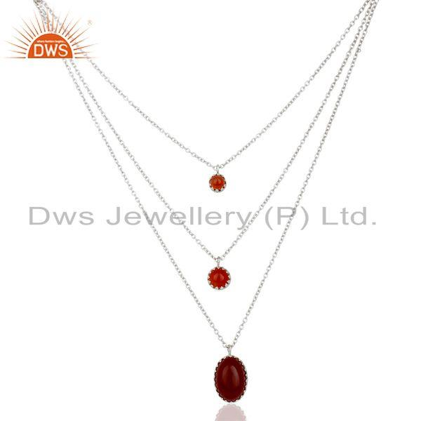 Carnelian Gemstone Fine Sterling Silver Chain Necklace Manufacturer India