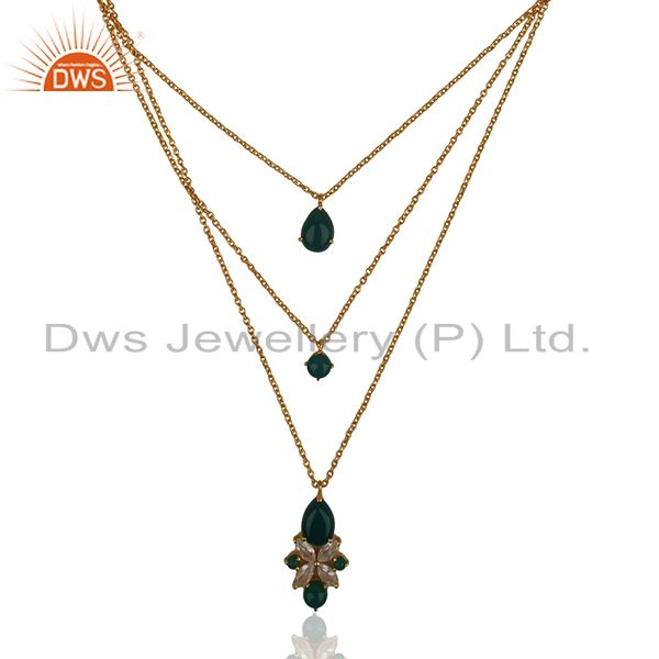 Handmade 925 Silver Gold Plated Chain Pendant Necklace Wholesale