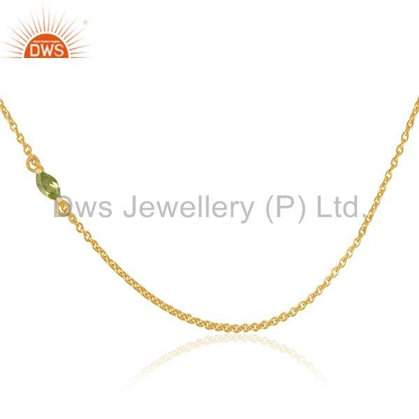 Gold Plated 925 Silver Peridot Gemstone Chain Necklace Manufacturers