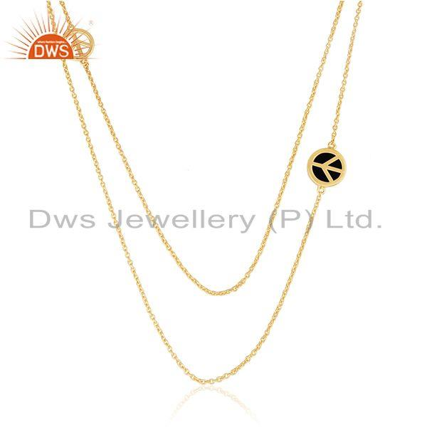 Peace Sign Gold Plated Sterling Silver Chain Necklace Wholesale Suppliers