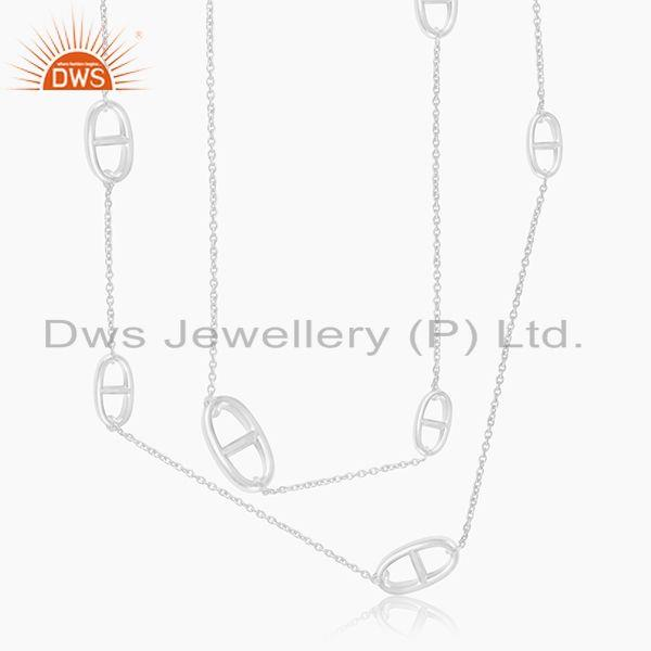 92.5 Sterling Fine Silver 40 inch Necklace Manufacturer of Jaipur Silver Jewelry