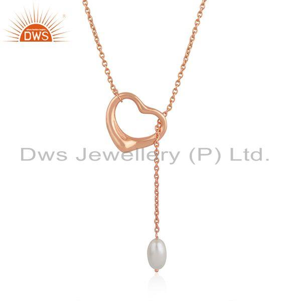 Heart Shape Rose Gold Plated Silver Natural Pearl Necklace Jewelry