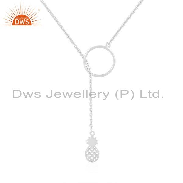 Pineapple Design Fine Sterling Silver Lucky Charm Pendant Necklace