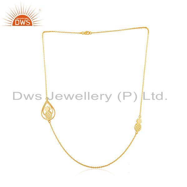 PineApple Design 925 Sterling Silver Yellow Gold Plated Chain Necklace Wholesale