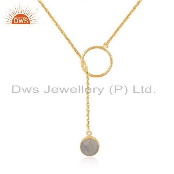 Rainbow Moonstone Gold Plated 925 Silver Chain Necklace Pendant Manufacturer