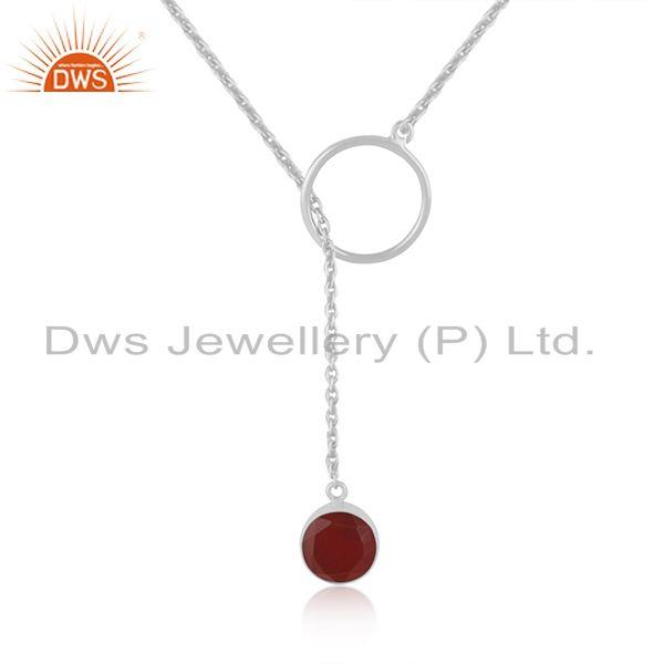 Supplier of Red Onyx Gemstone Pendant 925 Sterling Fine Silver Chain Necklace